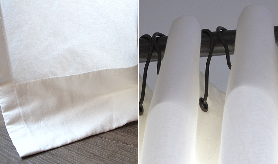 Rideaux/voilages en lin, tringle néon de chez Corler avec anneaux brisés