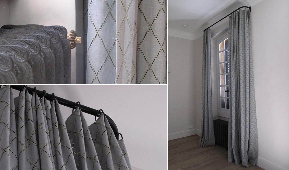 confection de rideaux sur mesure tissu
